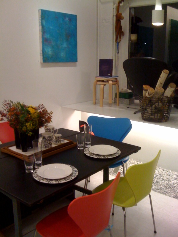 Reflection in Blue, 2009, and Table Setting