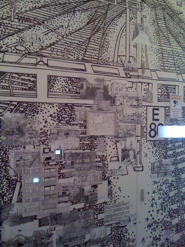 Wall across elevator