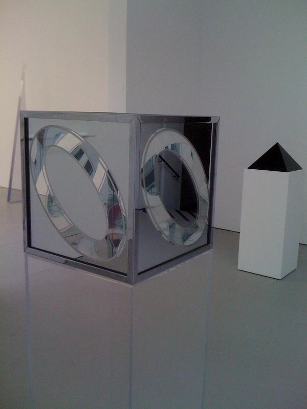 Larry Bell, Glass Box with Ellipses, 64, John McCracken, Black Pyramid, 75