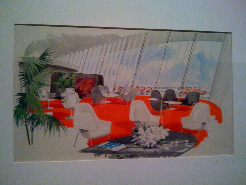 Rendering of ;ounge by Eero Saarinen and Assoc, TWA Terminal, circa 1956