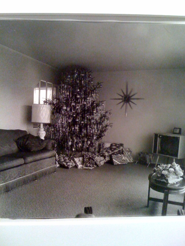 Xmas tree in a living room, Levittown, L.I., 1963
