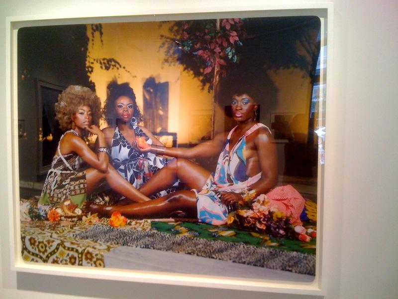Mickalene Thomas, Le Dejeuner Sur L'Herbe_Les Trois Femmes Noires, 2010, Inspired by the work of Seydou Keita