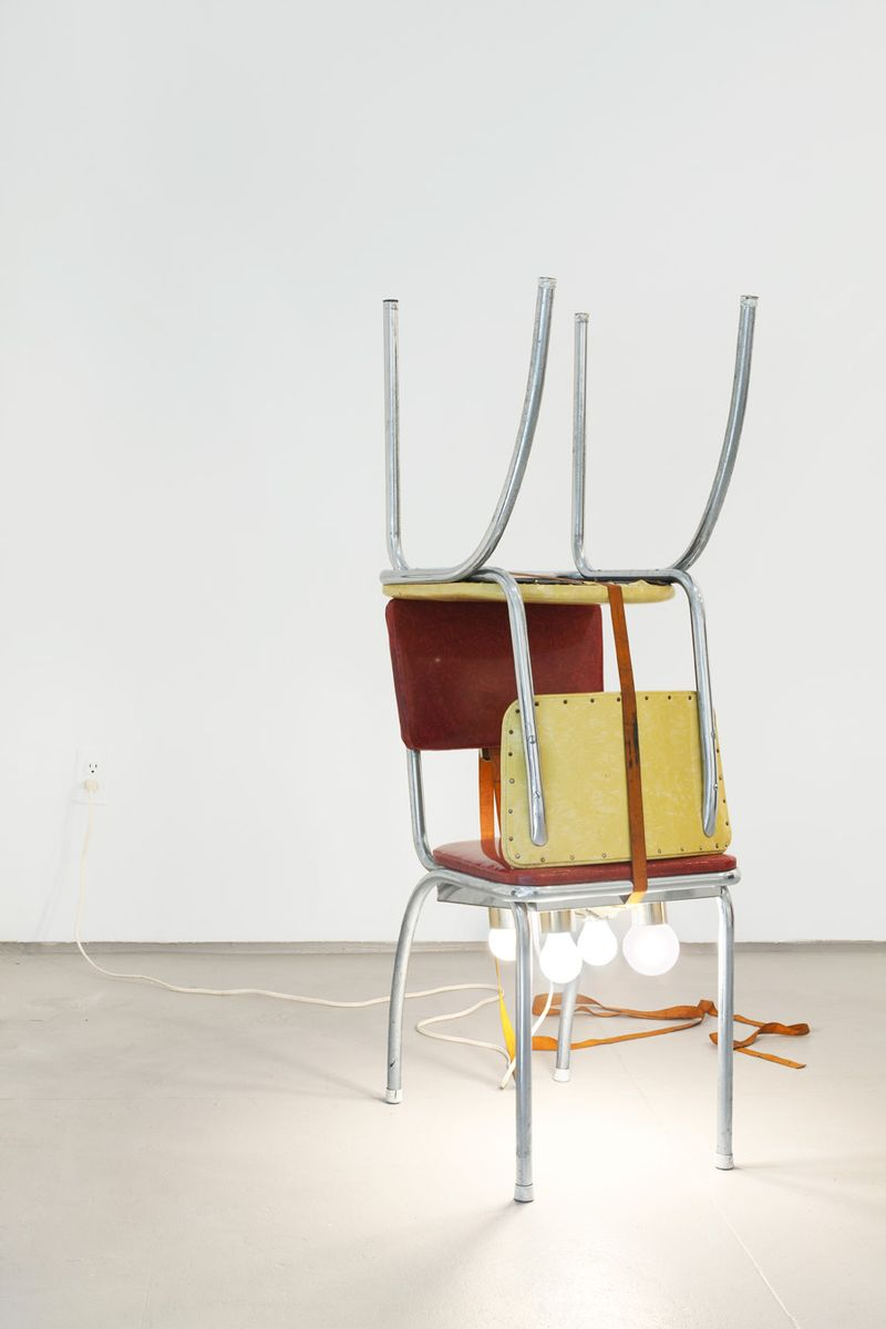 EDE_Virginia Overton, Untitled (chairs with lights), 2009