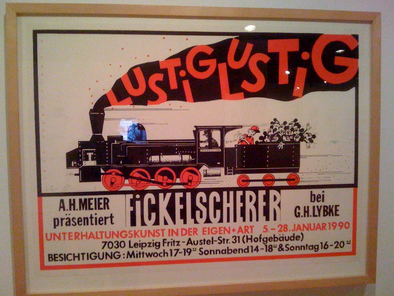 Holger Fickelscherer, Merrily Merrily, A.H. Meier presents Fickelscherer by G.H. Lybke, Entertainment Art at Galerie Elgen+Art, Leipzig, Jan5-28, 1990, Silkscreen, 2