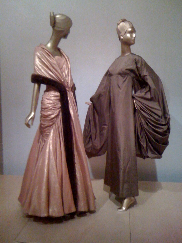 French Couture 1946-70_ Jean Desses, Evening Ensemble, 1956, Madame Alix Gres, Evening Dress, 1969