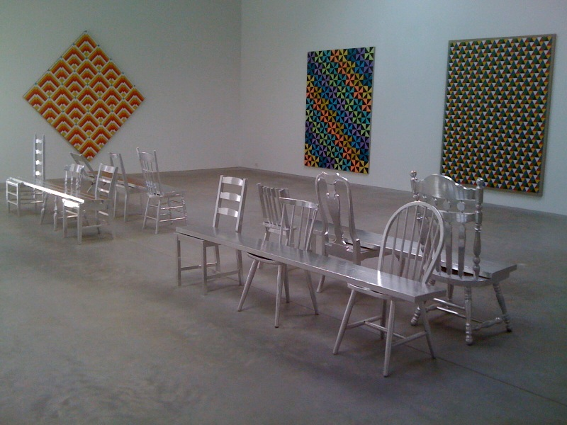 Rumspringa Quilt_Fire, 2010, Broken Dishes (Pastel), 2010, Triangles (Green, Yellow, Red, Blue, Black, White), 2010, TBC (wooden benches), 2010