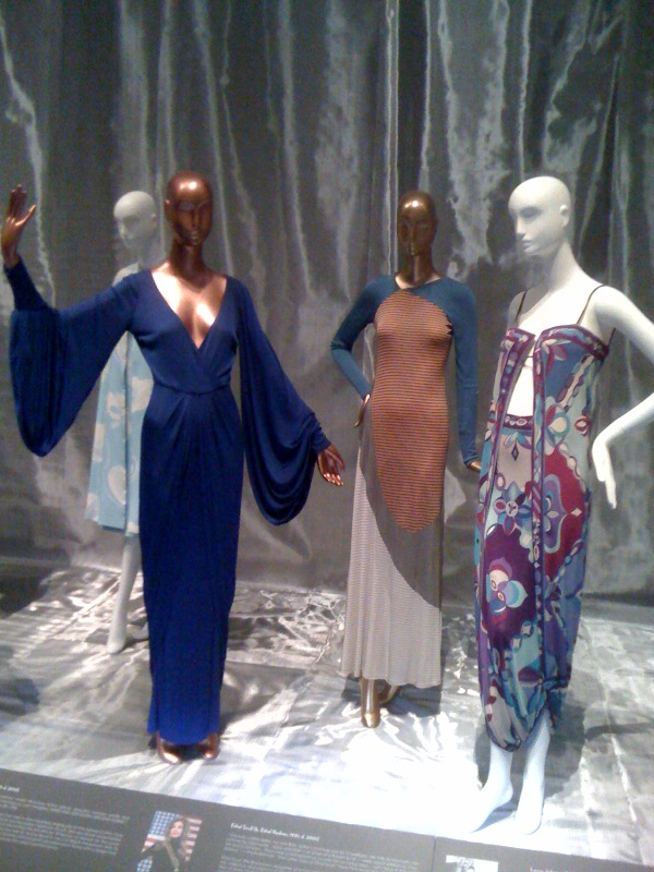 Lena Horne, Giorgio di Sant'Angelo evening dress,1981, Ethel Scull, Stephen Burrows evening dress,1970, Laura Johnson, Emilio Pucci evening costume,mid-1960s