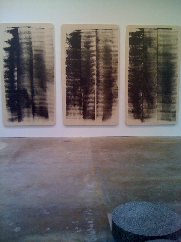 Slate Triptych, 1979, latex and aluminum on canvas, in three parts, Vermont, 1977