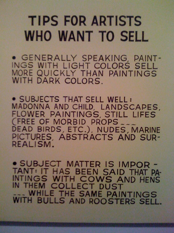 Tips For Artists Who Want To Sell, 1966-68