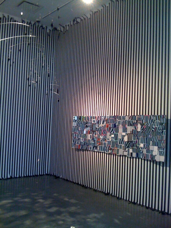 Untitled (star mobile sculpture 3), 2010, Untitled (mirror assemblage), 2010, Untitled (stripes), 2011, close up