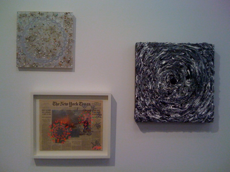 L-R_Sam Gordon, Untitled (sweepings), 2010, Mai Braun, NYT-December 13, 2005 (Beirut), 2007, Mamie Holst, Landscape Before Dying (The Knowledge), 2011, Feature Inc at Salon Zurcher