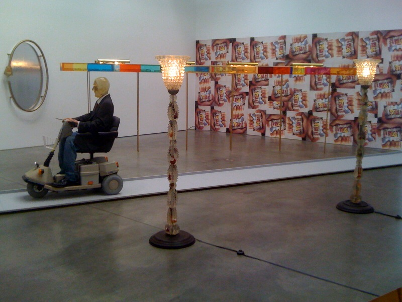 Kippenblinky (lamps), 1991, Untitled, 1991,  Mirror for Hang-over Bud, 1990, Broken Kilometer, 1990, Untitled (Wallpaper), 1991