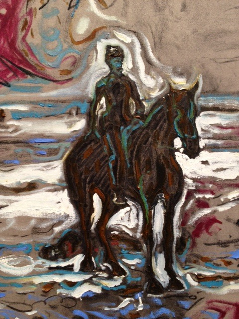 Lt. Sydney A. Cloman, First Infantry, on His Horse on the Wounded Knee, 2011, Detail