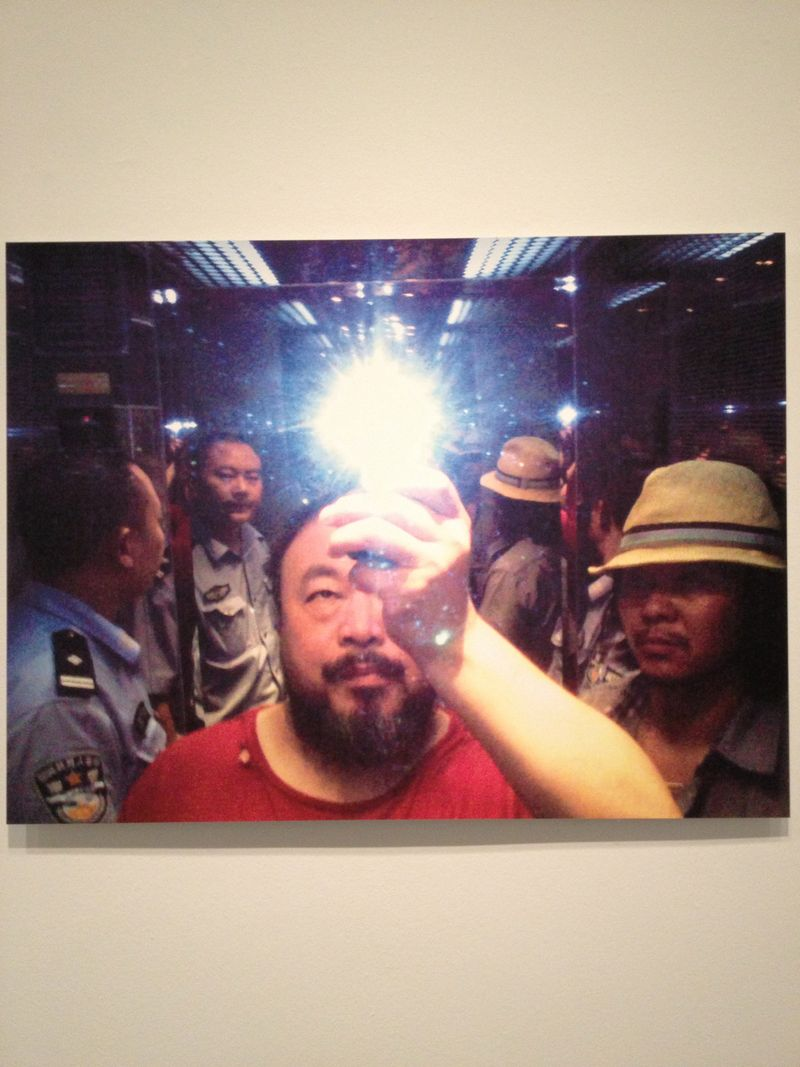 Ai Weiwei in the elevator when taken into custody by the police, 2009