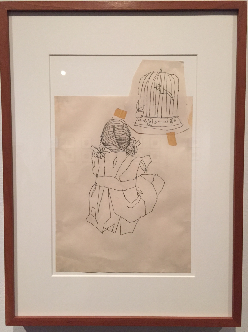 2 Seated Girl Looking at Bird Cage, ca. 1940s