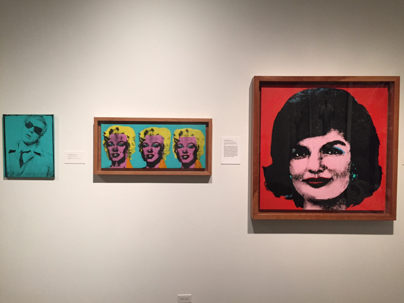 17 Self-Portrait, 1963-4, Three Marilyns, 1962, Red Jackie, 1964