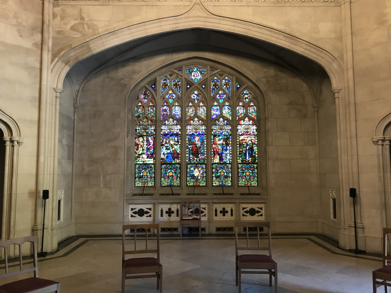 Stained glass window in Historic Chapel at Green-Wood Cemetery 2
