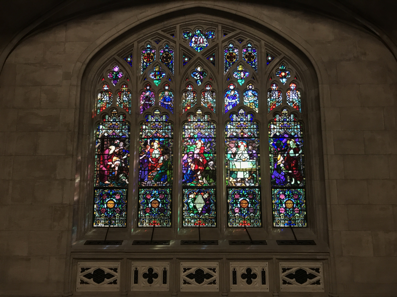 Stained glass window in Historic Chapel at Green-Wood Cemetery 1