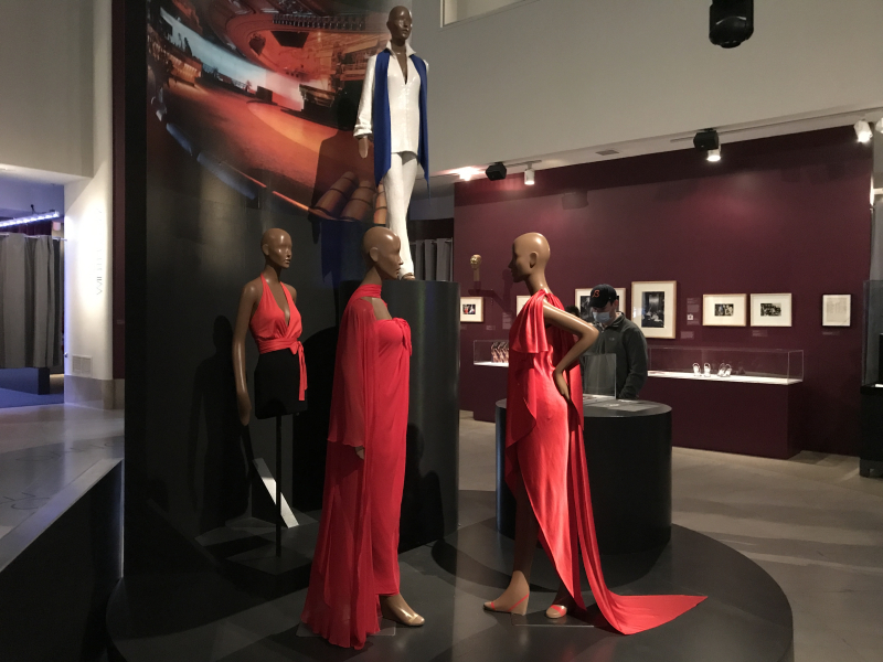 IMG_4426 Halter  worn by Liza MInnelli  circa 1979  Evening Ensemble worn by Elizabeth Taylor at Academy Awards  1976  Dress  worn by Liza Minnelli  1978. White silk and sequin ensemble  worn by Liza Minnelli  1977  all by Halston