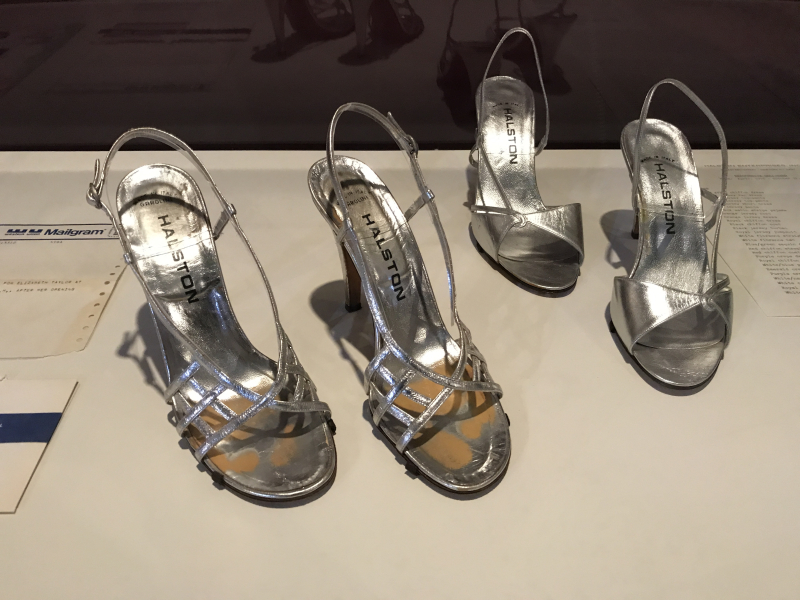 IMG_4538 Two pairs of Halston metallic sandals worn by Elizabeth Taylor to events at Studio 54 in 1978