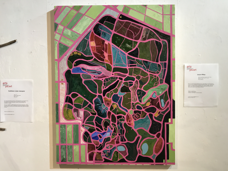 Joyce Riley  Green-Wood Cemetery Pink Paths  oil and acrylic on wood