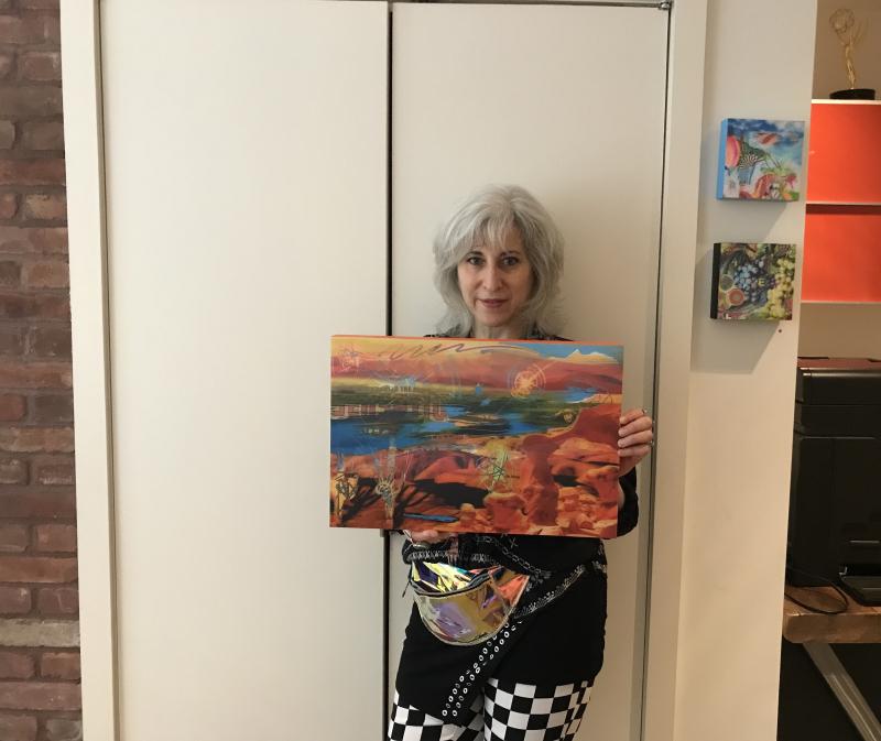 IMG_8647_Marlene Weisman holds her Super Deep 3D Collage 'Cosmic Desert'