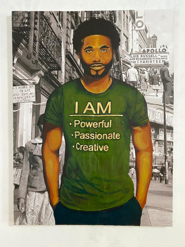 Demarcus McGaughey's portrait of Steve (WIP)_Art Crawl Harlem Residency
