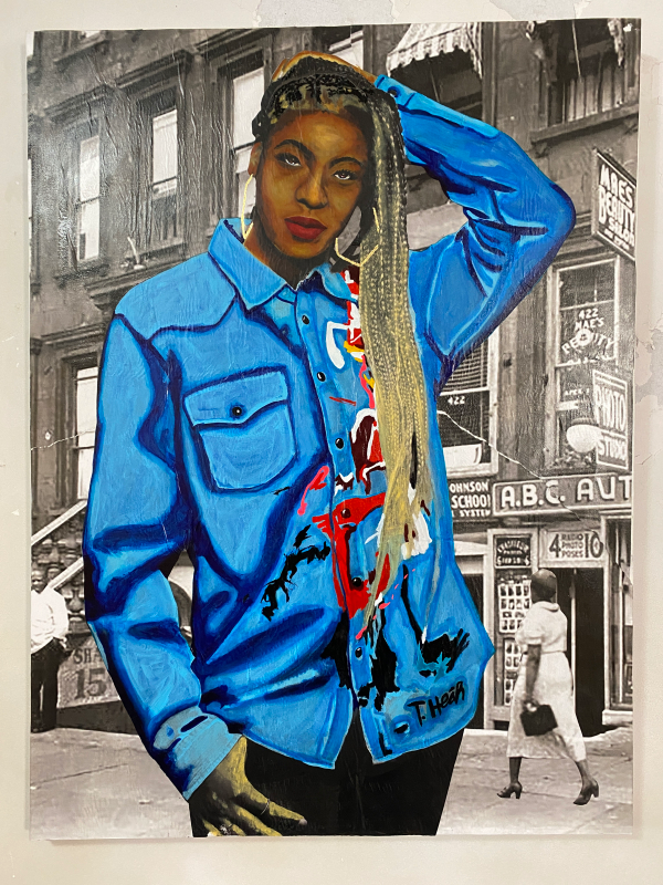 Demarcus McGaughey's portrait of Hollis (WIP)_Art Crawl Harlem Residency_NH