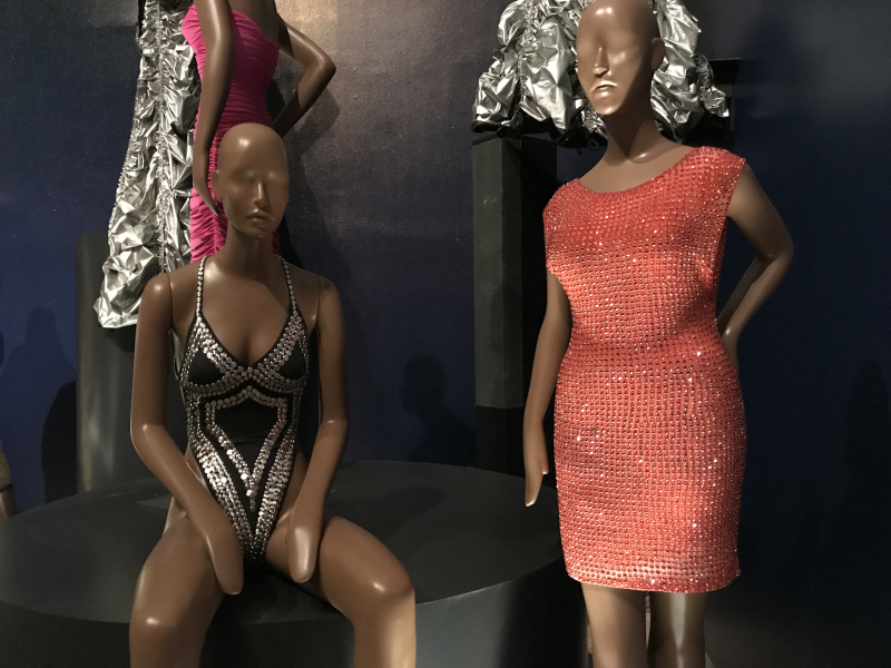 IMG_4835 Norma Kamali Heavy Stud Thong Slip Mio Swimsuit  2019  Giorgio di Sant'Angelo and Martin Price Powernet and rhinestone dress  1991