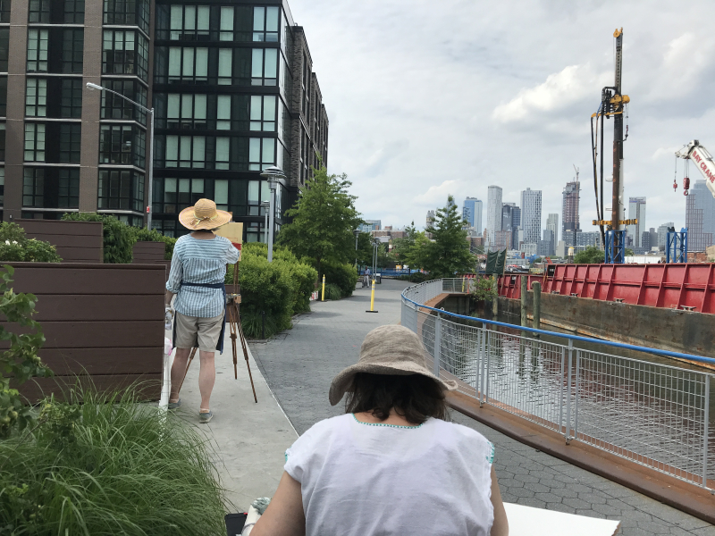 Janet Pedersen and Susan Greenstein at work by the Gowanus Canal